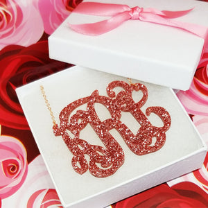 "2.5"" Rose Gold Glitter Monogram Necklace"