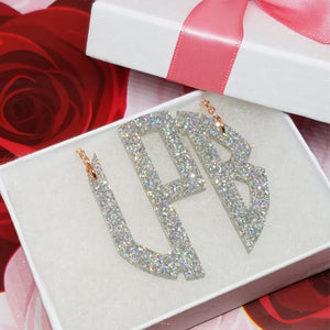 "2"" Holographic Glitter Monogram Necklace"