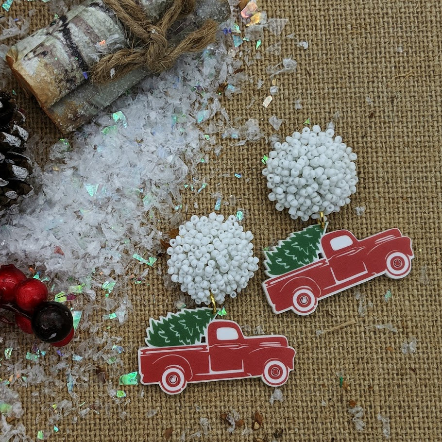 Vintage Christmas Truck Earrings