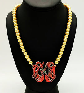 "2"" Pattern Monogram Necklace on Pearl Beads"