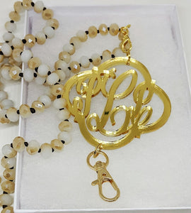 Monogram Neutral Bead Lanyard
