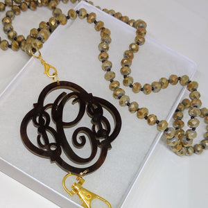Monogram Gold Beaded Lanyard