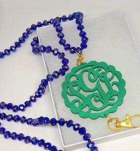 Monogram Blue Beaded Lanyard