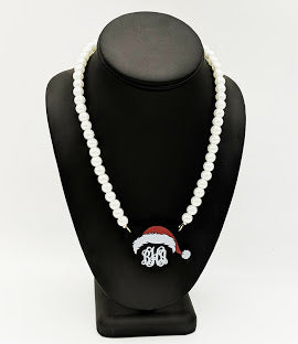Santa Mickey Necklace on Pearl Beads