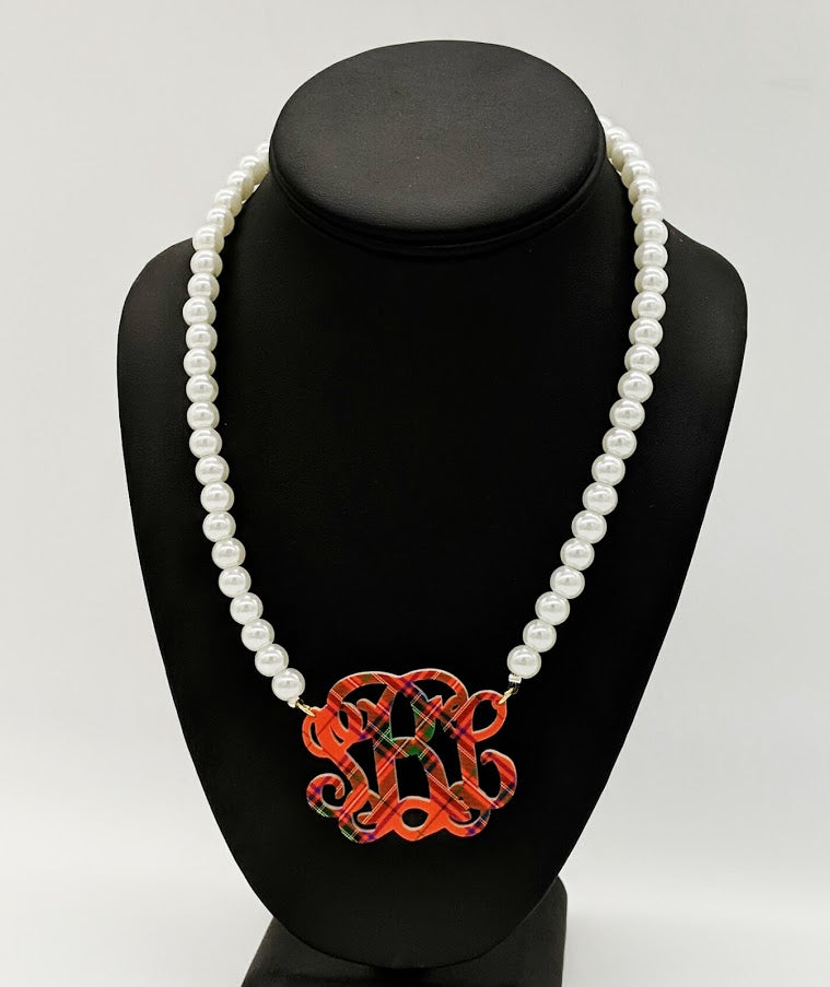 Pattern Monogram Necklace on Pearl Beads