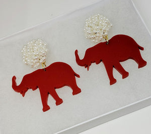 Roll Tide Elephant Earrings