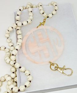 Rose Alabaster Monogram Lanyard