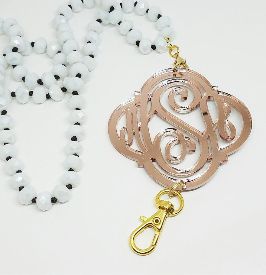 Rose Gold Mirror Monogram Lanyard