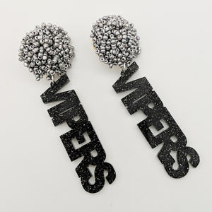 Black with Silver Glitter Vipers Earrings