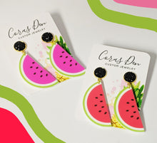 Load image into Gallery viewer, Watermelon Earrings with Black Druzy Studs