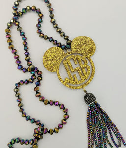 Iridescent Beaded Tassel Necklace