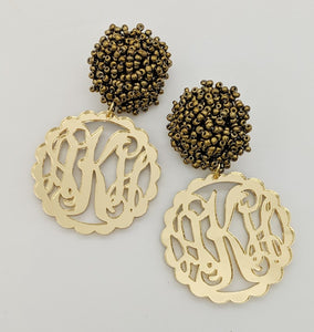 Gold Mirror Scalloped Monogram Earrings with Gold Studs