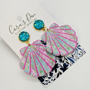Seashell Earrings with Turquoise Druzy Studs