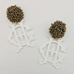 White Monogram Earrings