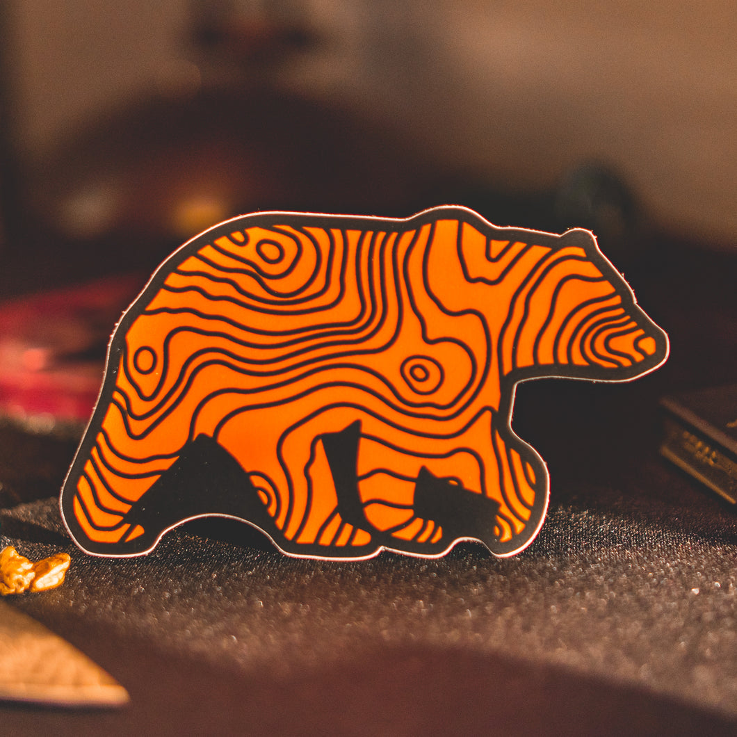 Lifestyle Overland Die Cut Topo Bear Sticker