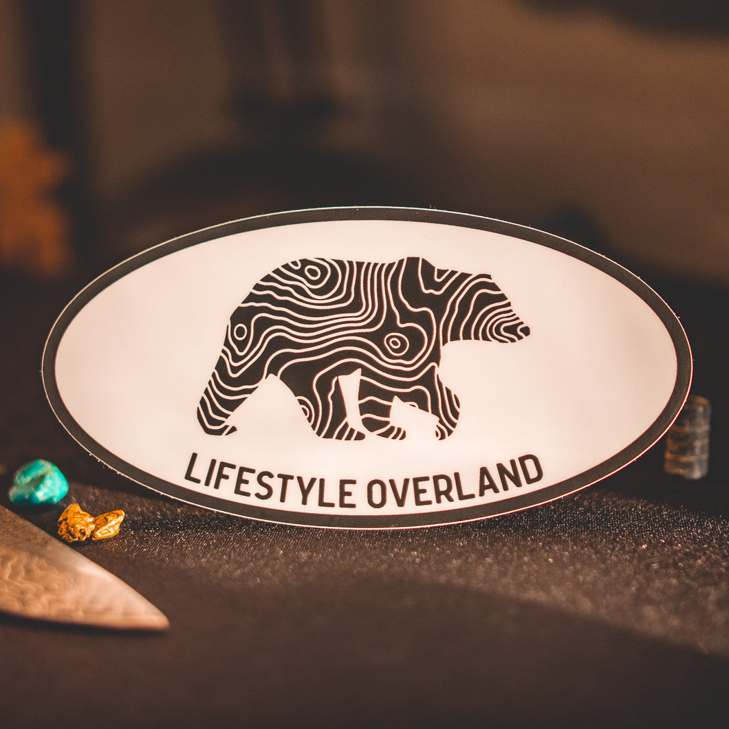 Lifestyle Overland Oval Topo Bear Sticker