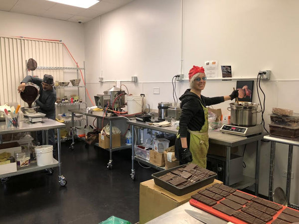 making chocolate in a commercial kitchen