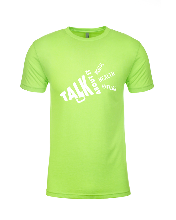 Talk About It neon green everyday tee