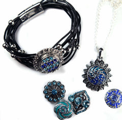 blue collection sparkle medallion snap jewelry