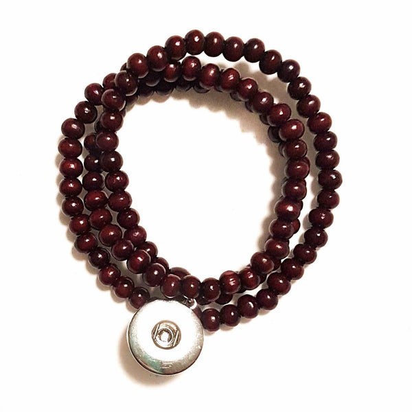 Wooden Bead Wrap Bracelet - Red