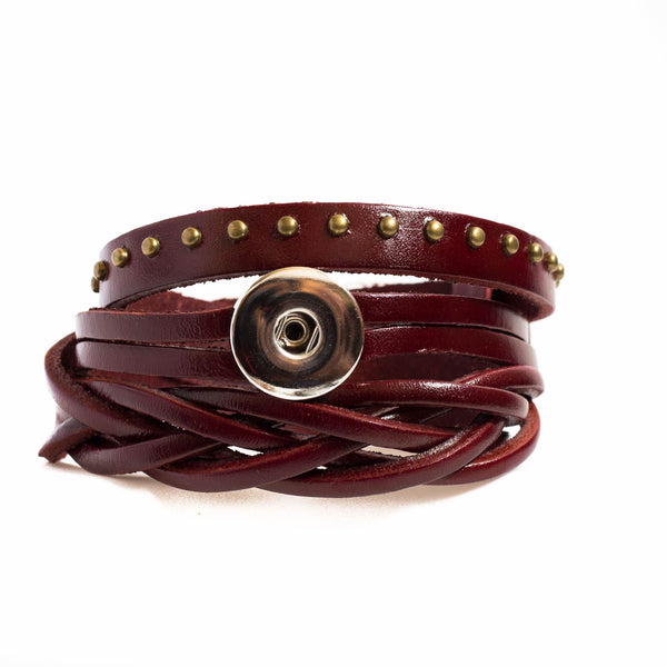 Rodeo Wrap Leather Bracelet - Cerise