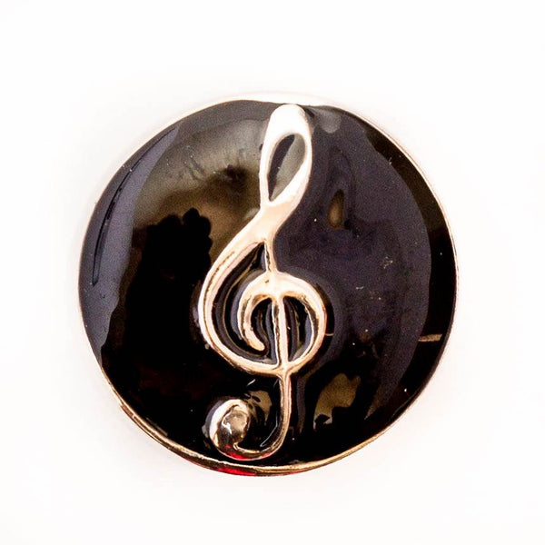 Treble Clef on Black Enamel
