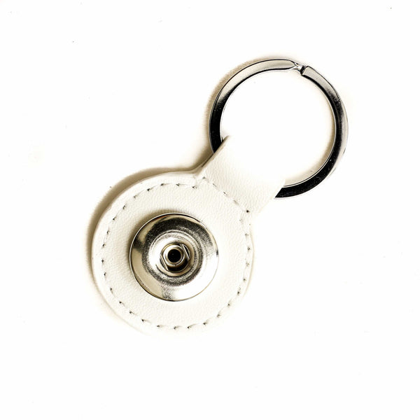 Keychain Single White Round