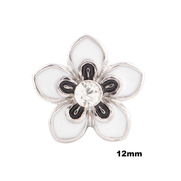 Mini Enamel Flower - White