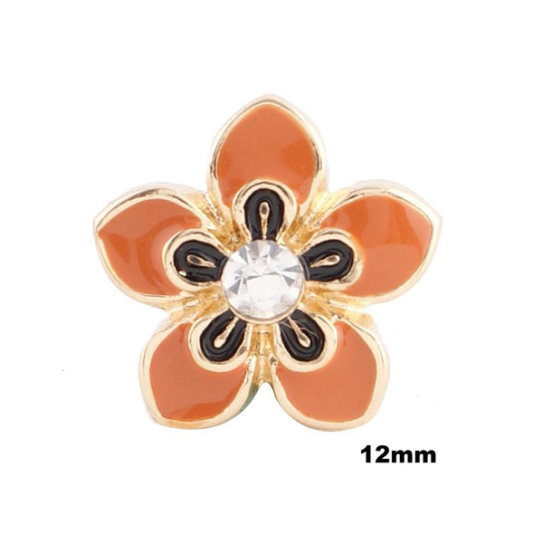 Mini Enamel Flower - Orange with Gold
