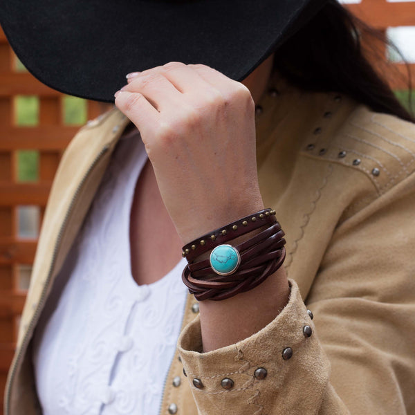 Rodeo Wrap Leather Bracelet - Dark Brown