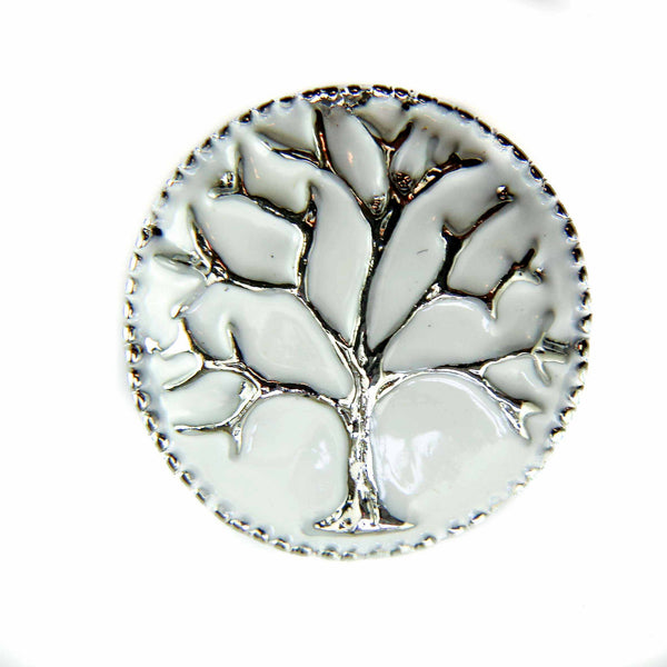 Silver Tree White Enamel