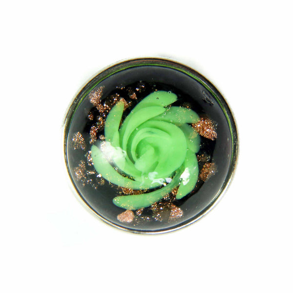 Glass Fairy Dust Rose (Green on Black)