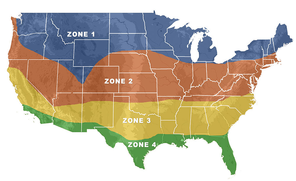 where & when in the USA to plant deer, turkey, and game-bird food plot zone map