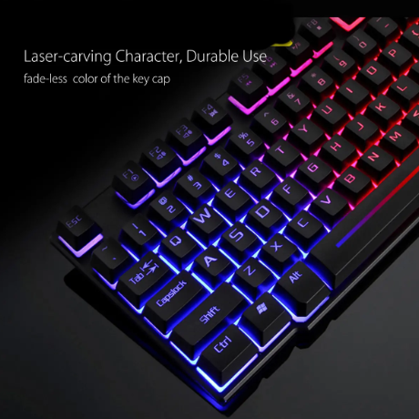 Kol10™ Colorful Backlit USB Wired Gaming Keyboard 2400DPI LED Gaming Mouse Combo with Mouse Pad