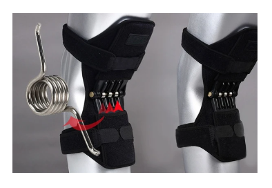 a pair of ExoBrace™ Power Knee Stabilizer Pads, knee Joint Support braces showing spring closeup