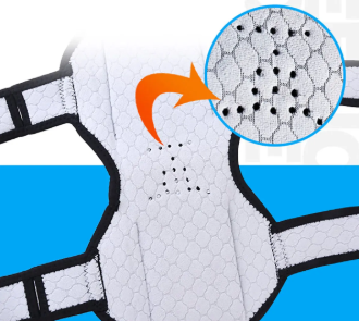 a Power knee Joint Support brace, close up fabric detail