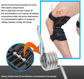 knee Joint Support brace with detailed carbon steel springs