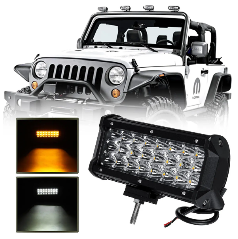 LED Light Bar Dual Color Strobe Driving Waterproof Fog Lamp for Jeep Truck SUV ATV