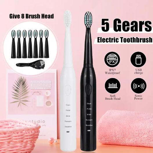 DentiSonic™Sonic Power Electric Toothbrush 5 Modes Waterproof With 8 Brushes