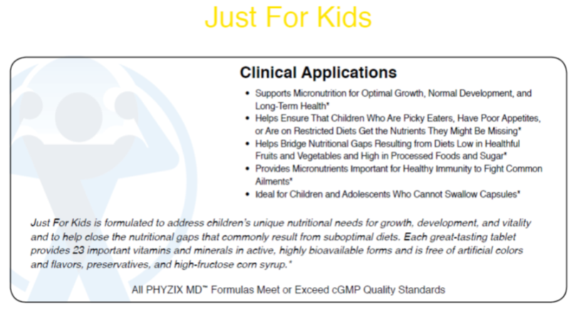 Phyzix MD™ Just For Kids Multi Vitamin Daily Supplement clinical application sheet
