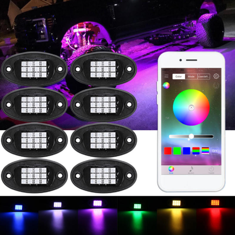LED Neon Underbody Car Rock Lights Underglow bluetooth Wireless Control