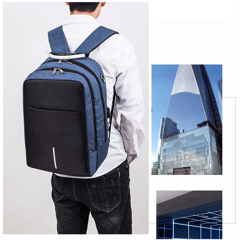 Anti Theft Backpack Rucksack USB Port Headphone Hole Travel Hiking School Bag