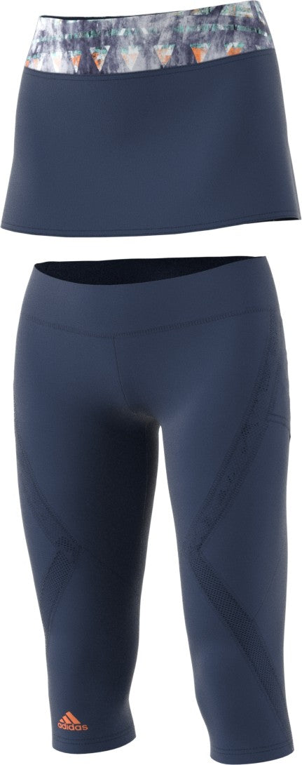 Adidas Ladies Melbourne Line Blue Skirt Leggings