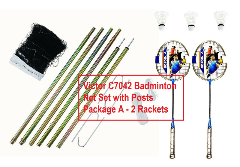 Victor C7042 Badminton Net Set with Posts Package A 2 Rackets