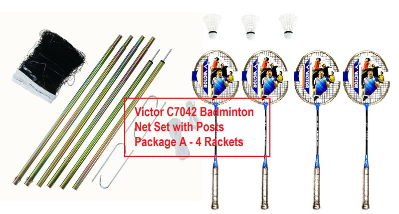 Victor C7042 Badminton Net Set with Posts Package A 4 Rackets