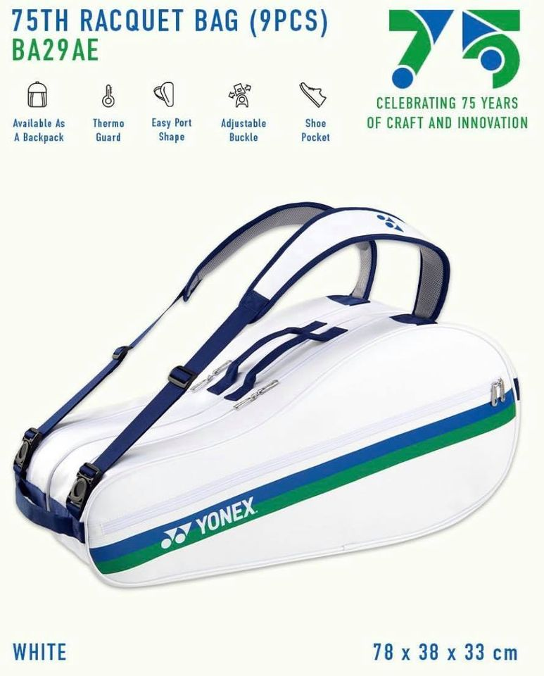 Yonex 75th Anniversary Racket Bag 9pcs (White)
