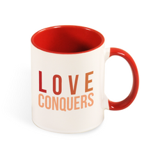 Load image into Gallery viewer, Love Conquers Mug with Color Inside and on Handle 11oz