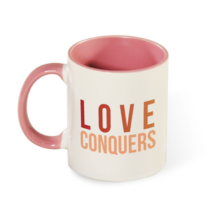 Love Conquers Mug with Color Inside and on Handle 11oz