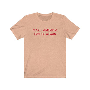 Make America Godly Again Short-Sleeve Unisex T-Shirt (Red lettering)