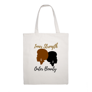 "Inner Strength Outer Beauty  Canvas Tote Bag -  Eco Friendly 15""X18"""